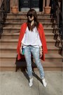 White-shoemint-shoes-diy-jeans-carrot-orange-ann-taylor-jacket