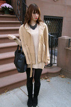camel Ann Taylor Loft cape - black Urban Outfitters boots - tan H&M sweater