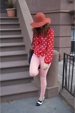 red polka dots H&amp;M shirt - Steve Madden shoes - salmon Forever21 jeans