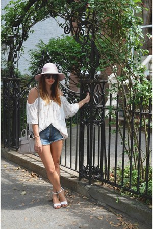 Urban Outfitters top - white Zara shoes - blue Urban Outfitters shorts