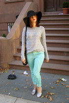 turquoise blue Zara jeans - black H&M hat - silver beaded Smitten sweater