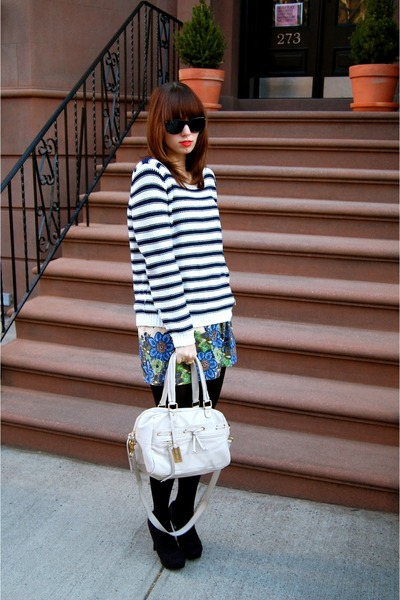 stripes H&M sweater - black Zara tights - ivory Remi & Emmy bag