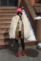 white Lulus jacket - calvin klein jacket - red shoemint shoes