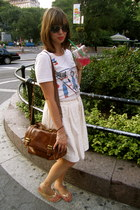 Urban Outfitters shirt - brown Zara bag - neutral Betsey Johnson skirt - gold Ol