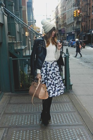 Alice  Olivia skirt - black Zara boots - free people hat - black Zara jacket