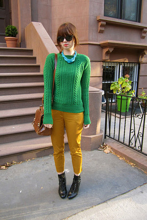 green Zara sweater - brown Zara bag - black Ray Ban sunglasses
