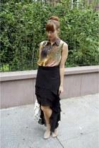Urban Outfitters skirt - glitter heel H&M boots - galaxy print Sheinside shirt