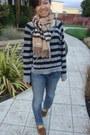 Blue-cigarette-leg-joes-jeans-jeans-tan-plaid-cashmere-burberry-scarf