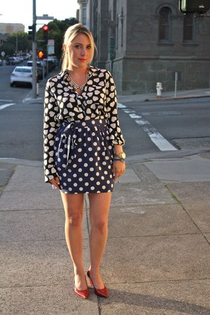 Equipment blouse - Joie skirt - JCrew necklace - JCrew bracelet - Jill Sander pu