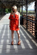 red Rebecca Taylor dress - brown Jeffrey Campbell shoes - white from Argentina n