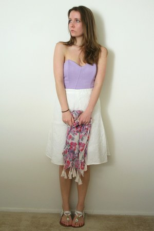 light purple bustier Tobi top - hot pink scarf