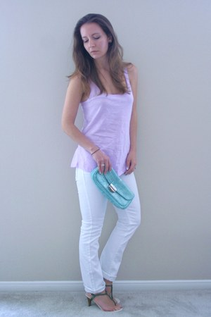 turquoise blue BCBG bag - white jeans - light purple top