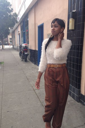 Wet Seal earrings - beige H&M sweater - brown thrifted vintage pants