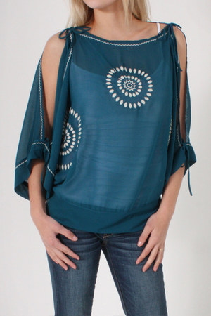 teal Love Stitch top