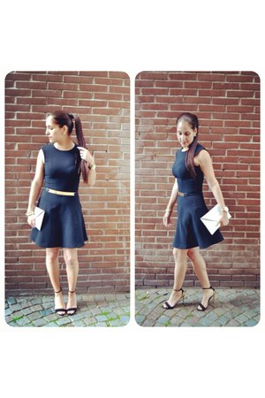 black H&M dress - black asos belt - black Zara sandals