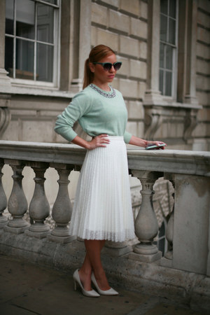 aquamarine Topshop top - white Topshop skirt - white Zara pumps