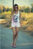 pink Zara shorts - skull Alexander McQueen top