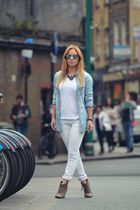 sky blue jean H&M shirt - white REPLAY jeans - Ray Ban sunglasses