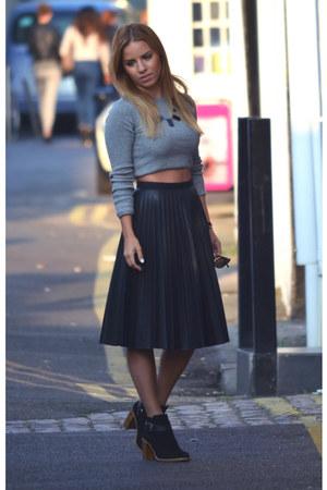 black Topshop skirt - black suede Kurt Geiger boots