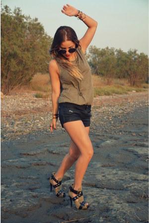 leather Zara shorts - Topshop top - ASH heels