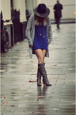 D&G boots - blue Zara dress - Primark hat