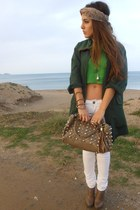 chartreuse blouse - forest green jacket - white Stradivarius pants