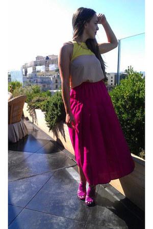 magenta Zara sandals - Zara top - magenta vintage skirt