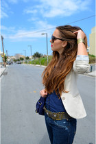 nude Stradivarius jacket - navy Stradivarius shirt - yellow Zara pumps