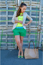 green exe shoes - nude Stradivarius jacket - green Mango shorts