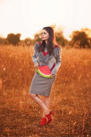 heather gray tassel sweater sweater - heather gray pencil skirt skirt