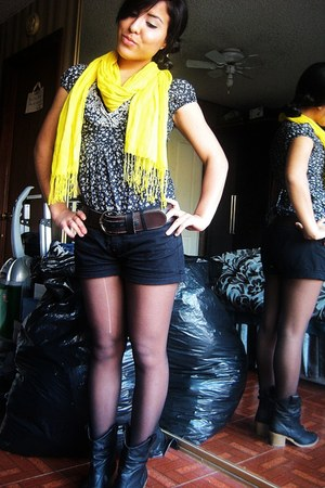 black Wet Seal boots - black Forever 21 tights - yellow Target scarf - black For