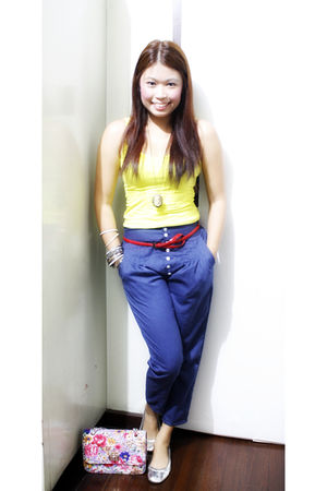 yellow Forever 21 top - blue Bazaar in Greenhills pants - silver shoebox shoes -