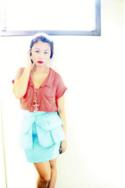 coral Pink Manila top - aquamarine Glitterati skirt - silver Forever 21 necklace