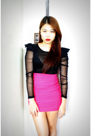 black Pink Manila top - hot pink bodycon Pink Manila skirt - silver bow Forever