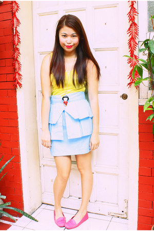 yellow Forever 21 top - sky blue Glitterati skirt - bubble gum Shoebox and Me lo