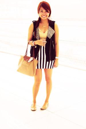 white Forever 21 skirt - nude Tomato dress - light brown small longchamp bag