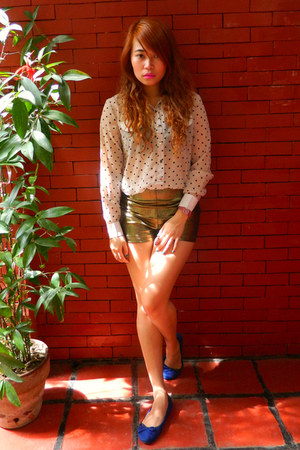 gold Style Staple shorts - white sheer Bazaar top - pink Swatch watch
