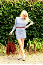 brown purse - green shoes - blue dress - white dress - brown belt