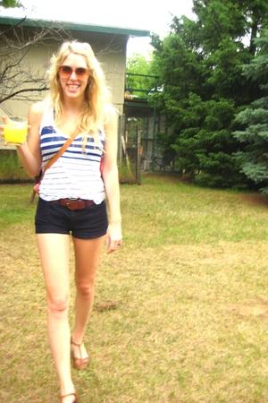 sunglasses - top - shorts - purse - belt - shoes