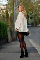 black metallic vintage bag - black high waisted Never Denim shorts - black suede