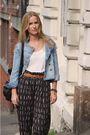 Black-weekday-pants-brown-vintage-belt-blue-h-m-jacket