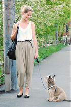 beige H&M pants - white Monki top - black lindex accessories - black Din Sko - b