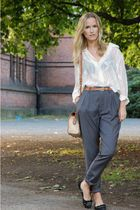 white armani blouse - gray Bik Bok pants - beige dooney & burke purse