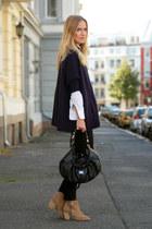 navy H&M sweater - tan Bianco boots - white vintage shirt - black Burberry bag