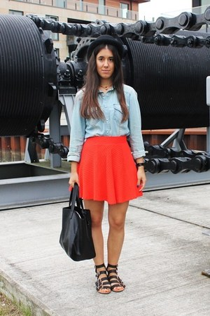 H&M skirt - denim Zara blouse - BLANCO accessories