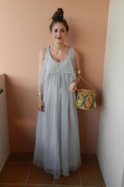 maxi vintage dress - straw vintage bag