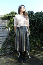 silver pleated midi vintage skirt - black circle Topshop sunglasses