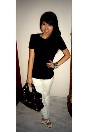 black Zara top - white pull&bear jeans - random from flea markets and vintage ac
