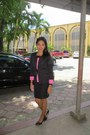 Black-and-pink-blazer-skirt-black-strapped-watch-black-leather-heels
