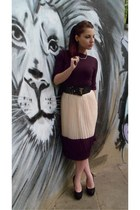 vintage necklace - no name heels - no name skirt - Moschino belt